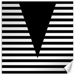 Black & White Stripes Big Triangle Canvas 12  X 12   by EDDArt