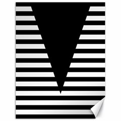 Black & White Stripes Big Triangle Canvas 18  X 24   by EDDArt