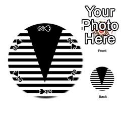 Black & White Stripes Big Triangle Playing Cards 54 (round)  by EDDArt