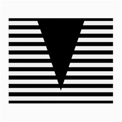 Black & White Stripes Big Triangle Small Glasses Cloth (2 Side) by EDDArt