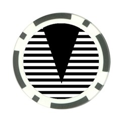 Black & White Stripes Big Triangle Poker Chip Card Guards by EDDArt