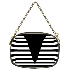 Black & White Stripes Big Triangle Chain Purses (two Sides)  by EDDArt