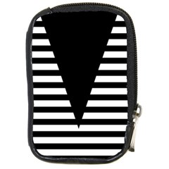 Black & White Stripes Big Triangle Compact Camera Cases by EDDArt
