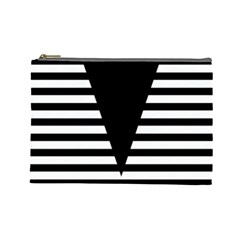 Black & White Stripes Big Triangle Cosmetic Bag (large)  by EDDArt