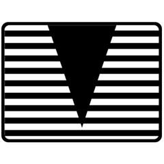 Black & White Stripes Big Triangle Fleece Blanket (large)  by EDDArt