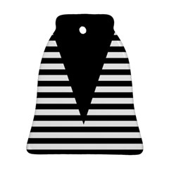 Black & White Stripes Big Triangle Bell Ornament (2 Sides) by EDDArt