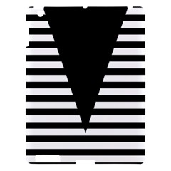 Black & White Stripes Big Triangle Apple Ipad 3/4 Hardshell Case by EDDArt