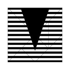 Black & White Stripes Big Triangle Acrylic Tangram Puzzle (6  X 6 ) by EDDArt