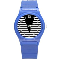 Black & White Stripes Big Triangle Round Plastic Sport Watch (s) by EDDArt
