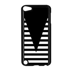 Black & White Stripes Big Triangle Apple Ipod Touch 5 Case (black) by EDDArt