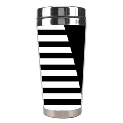 Black & White Stripes Big Triangle Stainless Steel Travel Tumblers by EDDArt