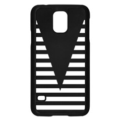 Black & White Stripes Big Triangle Samsung Galaxy S5 Case (black) by EDDArt