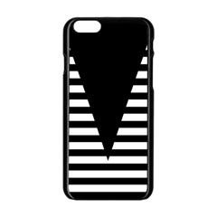 Black & White Stripes Big Triangle Apple Iphone 6/6s Black Enamel Case by EDDArt