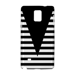 Black & White Stripes Big Triangle Samsung Galaxy Note 4 Hardshell Case by EDDArt