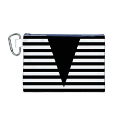 Black & White Stripes Big Triangle Canvas Cosmetic Bag (m) by EDDArt