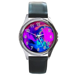 The Perfect Wave Pink Blue Red Cyan Round Metal Watch by EDDArt