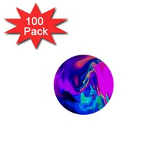 The Perfect Wave Pink Blue Red Cyan 1  Mini Buttons (100 Pack)  by EDDArt