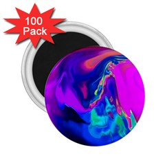 The Perfect Wave Pink Blue Red Cyan 2 25  Magnets (100 Pack)  by EDDArt