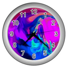 The Perfect Wave Pink Blue Red Cyan Wall Clocks (silver)  by EDDArt