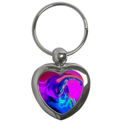 The Perfect Wave Pink Blue Red Cyan Key Chains (heart)  by EDDArt