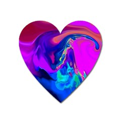 The Perfect Wave Pink Blue Red Cyan Heart Magnet by EDDArt
