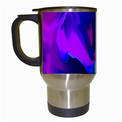 The Perfect Wave Pink Blue Red Cyan Travel Mugs (white) by EDDArt