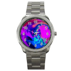 The Perfect Wave Pink Blue Red Cyan Sport Metal Watch by EDDArt