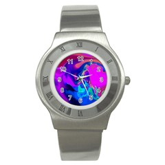 The Perfect Wave Pink Blue Red Cyan Stainless Steel Watch by EDDArt