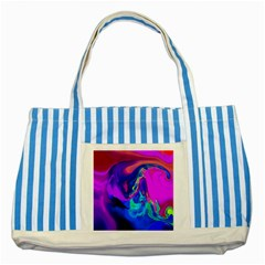 The Perfect Wave Pink Blue Red Cyan Striped Blue Tote Bag by EDDArt