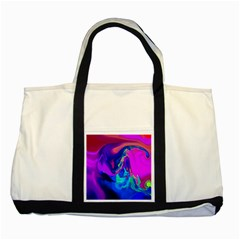 The Perfect Wave Pink Blue Red Cyan Two Tone Tote Bag by EDDArt