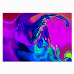 The Perfect Wave Pink Blue Red Cyan Large Glasses Cloth by EDDArt