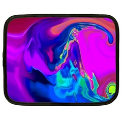 The Perfect Wave Pink Blue Red Cyan Netbook Case (large) by EDDArt