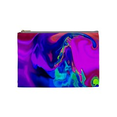 The Perfect Wave Pink Blue Red Cyan Cosmetic Bag (medium)  by EDDArt