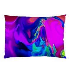 The Perfect Wave Pink Blue Red Cyan Pillow Case (two Sides) by EDDArt