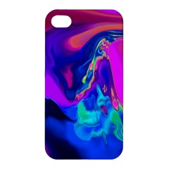 The Perfect Wave Pink Blue Red Cyan Apple Iphone 4/4s Hardshell Case by EDDArt