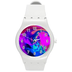The Perfect Wave Pink Blue Red Cyan Round Plastic Sport Watch (m) by EDDArt