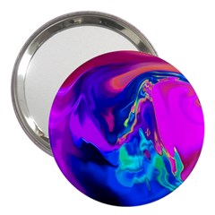 The Perfect Wave Pink Blue Red Cyan 3  Handbag Mirrors by EDDArt