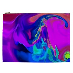 The Perfect Wave Pink Blue Red Cyan Cosmetic Bag (xxl)  by EDDArt