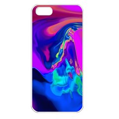 The Perfect Wave Pink Blue Red Cyan Apple Iphone 5 Seamless Case (white) by EDDArt