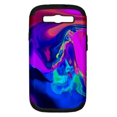 The Perfect Wave Pink Blue Red Cyan Samsung Galaxy S Iii Hardshell Case (pc+silicone) by EDDArt