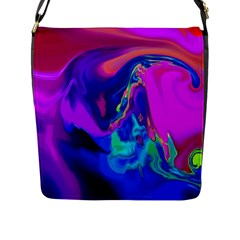 The Perfect Wave Pink Blue Red Cyan Flap Messenger Bag (l)  by EDDArt