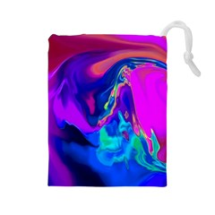 The Perfect Wave Pink Blue Red Cyan Drawstring Pouches (large)  by EDDArt