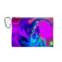 The Perfect Wave Pink Blue Red Cyan Canvas Cosmetic Bag (m) by EDDArt