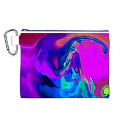 The Perfect Wave Pink Blue Red Cyan Canvas Cosmetic Bag (l) by EDDArt