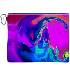 The Perfect Wave Pink Blue Red Cyan Canvas Cosmetic Bag (xxxl) by EDDArt