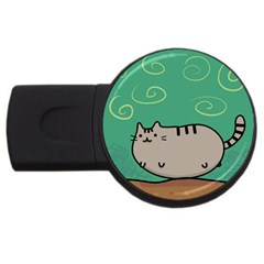 Fat Cat USB Flash Drive Round (4 GB)  by Onesevenart