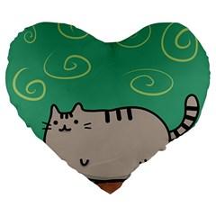 Fat Cat Large 19  Premium Heart Shape Cushions by Onesevenart