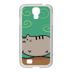 Fat Cat Samsung Galaxy S4 I9500/ I9505 Case (white) by Onesevenart