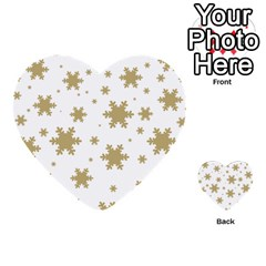 Gold Snow Flakes Snow Flake Pattern Multi Purpose Cards (heart)  by Onesevenart