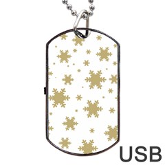 Gold Snow Flakes Snow Flake Pattern Dog Tag Usb Flash (two Sides)  by Onesevenart